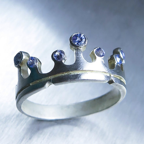 Natural Tanzanite 925 Silver / Gold/ Platinum crown unisex wedding band ring