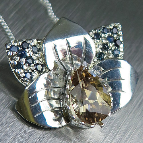 Natural Axinite colour change 925 Silver / Gold / Platinum orchid pendant