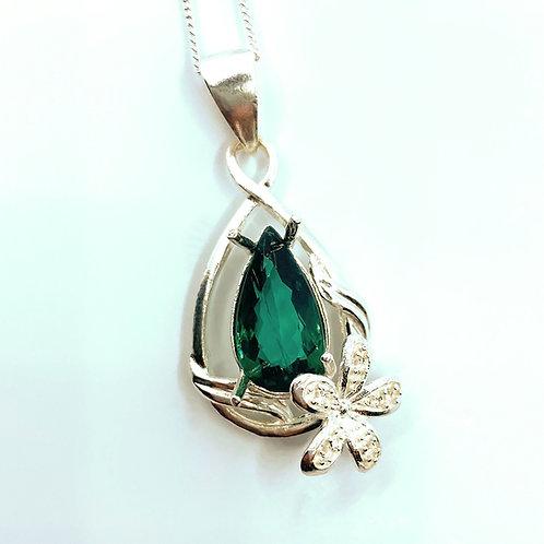 2.05ct Natural Peacock blue greenTourmaline Silver / Gold / Platinum pendant ch