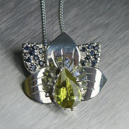 1.10ct Natural yellowchrysoberyl 925 Silver / Gold / Platinum orchid pendant