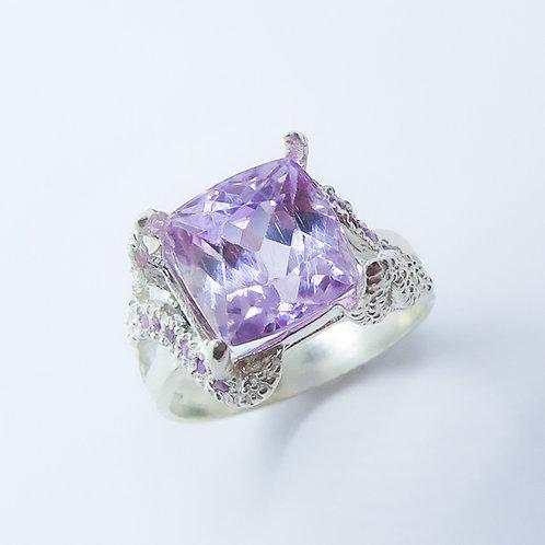 6.30cts Natural pink Kunzite 925 Silver / Gold/ Platinum ring