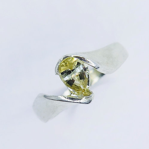Natural Yellow Sinhalite 925 Silver / Gold/ Platinum solitaire engagement ring