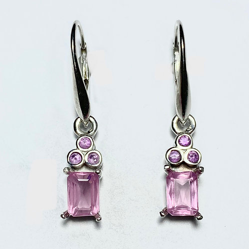 Natural Pink Spinel Silver /Gold / Platinum dangling earrings drop