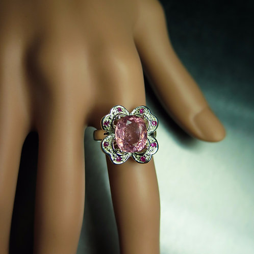 3.55cts Natural Pink tourmaline 925 Silver / Gold/ Platinum ring