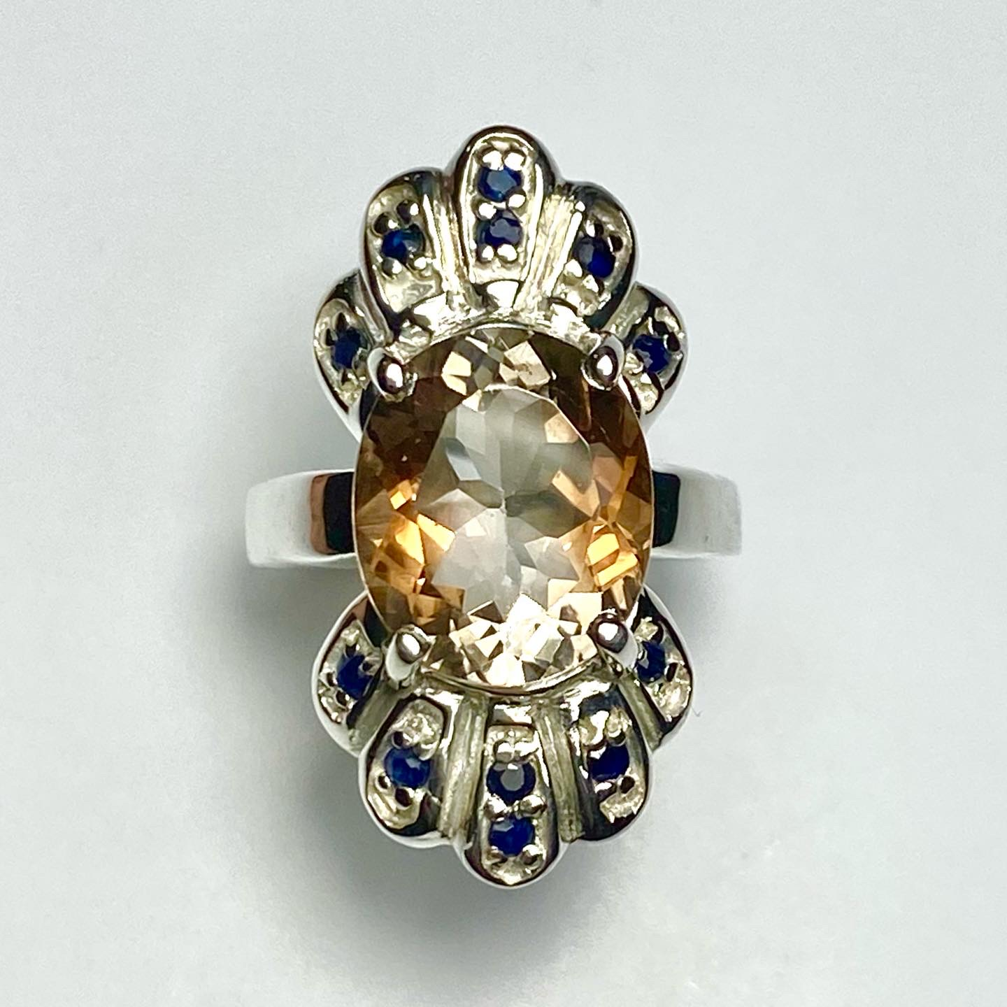 Imperial topaz & sapphire ring