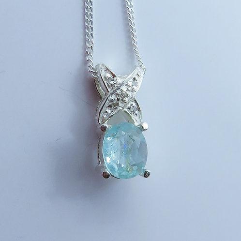 Natural paraiba blue Tourmaline Silver / Gold / Platinum pendant on chain