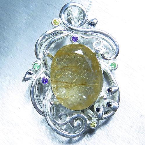 7.1ct Natural Rutile Quartz Silver / Gold / Platinum pendant on chain