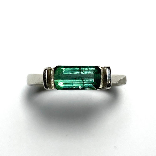 1ct Natural Indicolite tourmaline 925 Silver / Gold/ east west ring