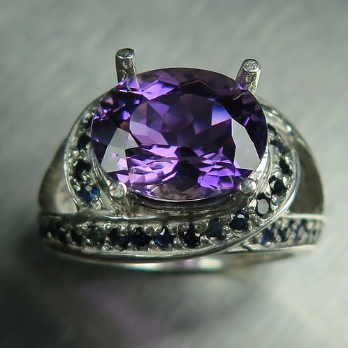4.2ct Natural purple Amethyst 925 Silver / Gold/ Platinum