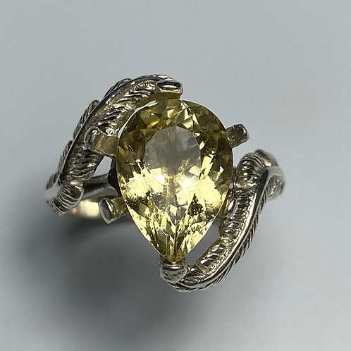 3.9cts Natural heliodor beryl 925 Silver / Gold/ Platinum ring