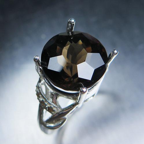 8.15cts Natural Smoky Quartz 925 Silver / Gold/ Platinum ring