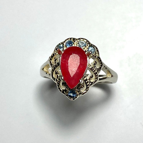 2.2ct Natural Red Rhodonite 925 Silver/ Gold/ ring