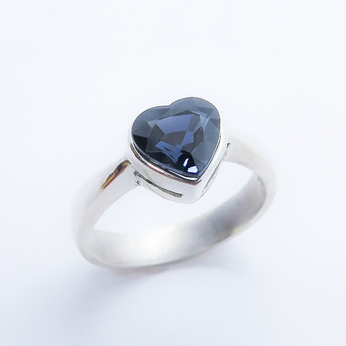 1.80cts Natural Dark Blue Spinel heart 925 Silver / Gold/ Platinum ring