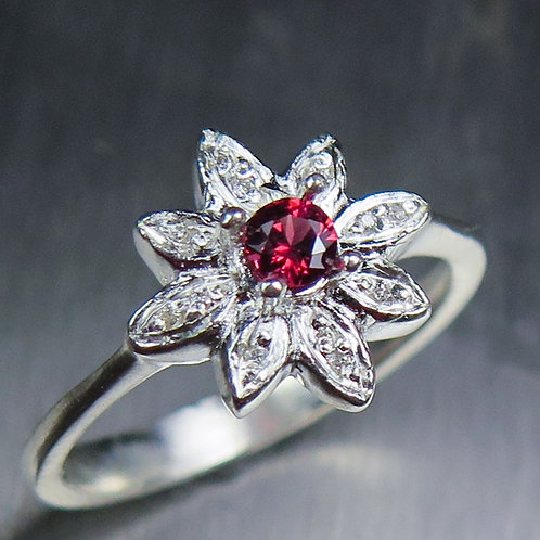 Natural Red Spinel & diamond 925 Silver / Gold/ Platinum soli