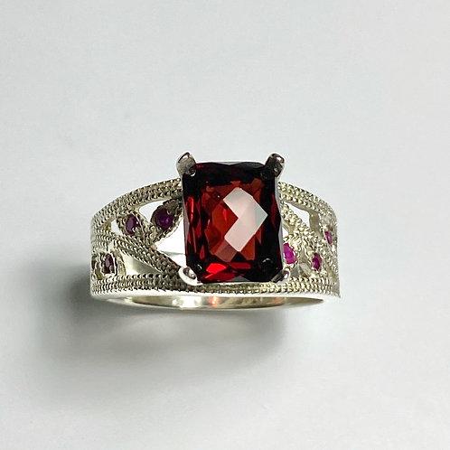 4.2ct Natural Red Rhodolite Pyrope garnet 925 Silver / Gold/ Platinum ring