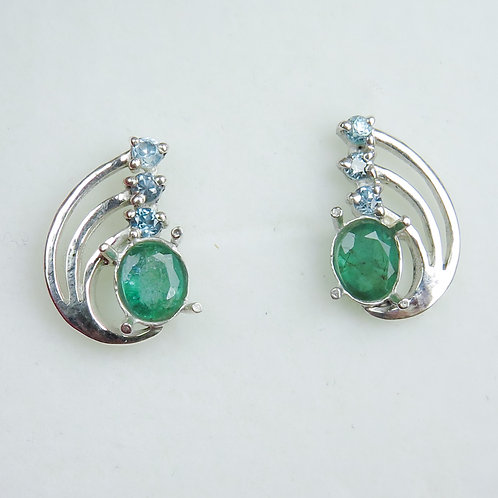 Natural Emerald Silver /Gold / Platinum stud ear