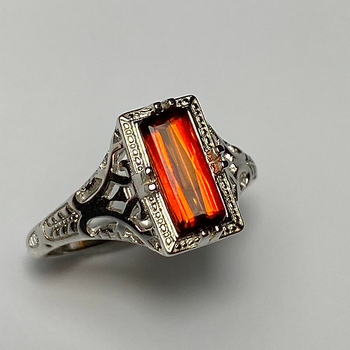 1.05ct Natural orange red Clinohumite 925 Silver / Gold/ Platinum ring