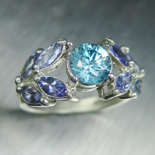 Natural Paraiba blue Zircon 925 Sterling Silver / Gold / Platinum ring ring