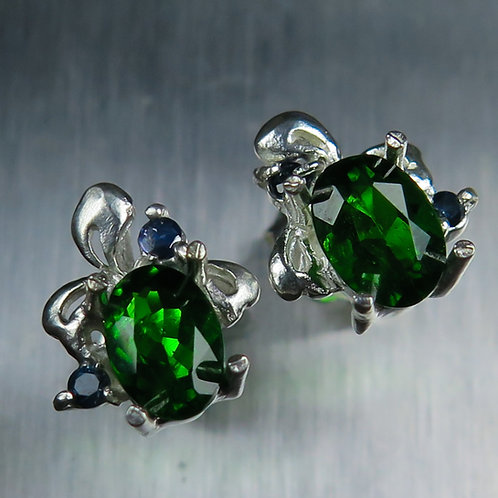 1.65ct Natural Chrome Diopside925 Silver/ Gold/Platinum studs earrings