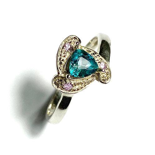 0.4cts Rare Natural Blue Grandidierite 925 Silver / Gold/ Platinum ring