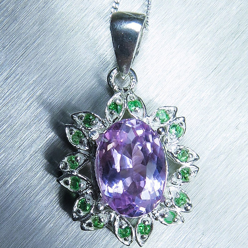 3.4ct Natural Pink Kunzite Silver / Gold / Platinum pendant on chain