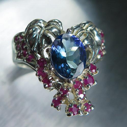 1.65ct Natural Tanzanite purple blue 925 Silver / Gold/ Platinum ring