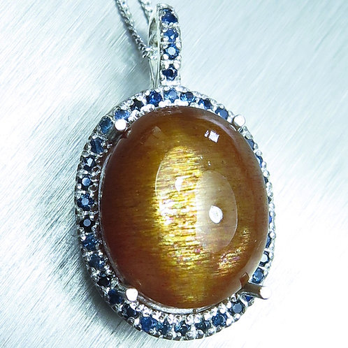 12.6cts Natural Sunstone, cat's eye Silver / Gold / Platinum pendant on chain