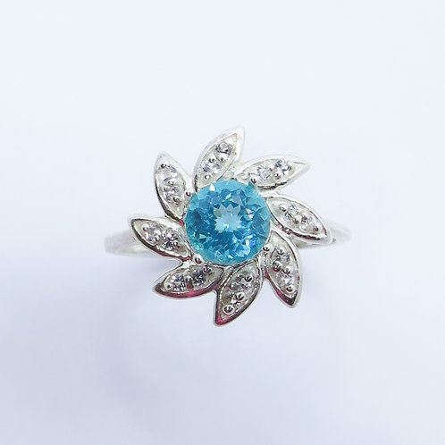 0.9ct Natural Paraiba blue Apatite 925 Silver / Gold/ Platinum ring