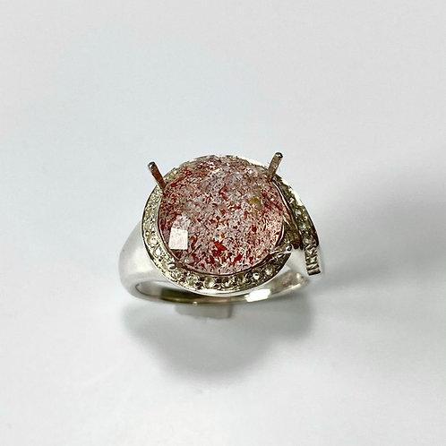 5ct Natural  Strawberry Quartz 925 Silver / Gold/ Platinum ring