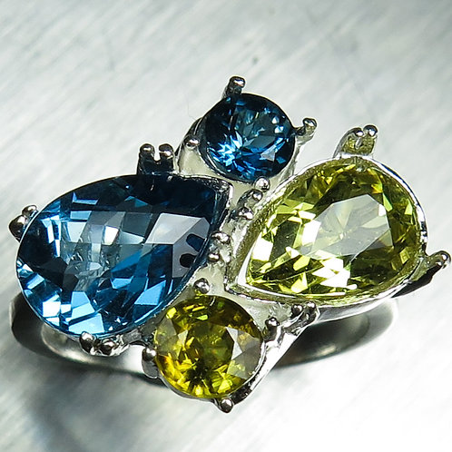 Natural Topaz & Beryl 925 Silver / Gold/ Platinum ring