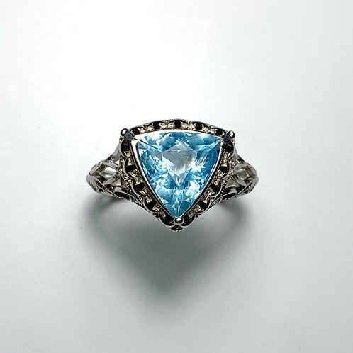 2.3ts Natural blue aquamarine Silver/ Gold /Platinum ring