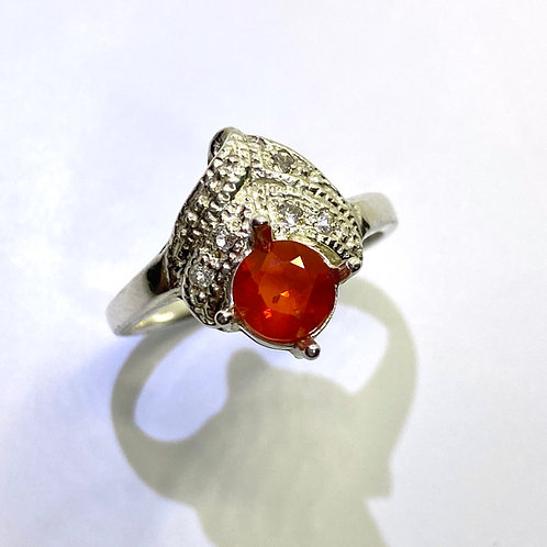 Natural Mexican Fire Opal 925 Silver / Gold/ Platinum ri