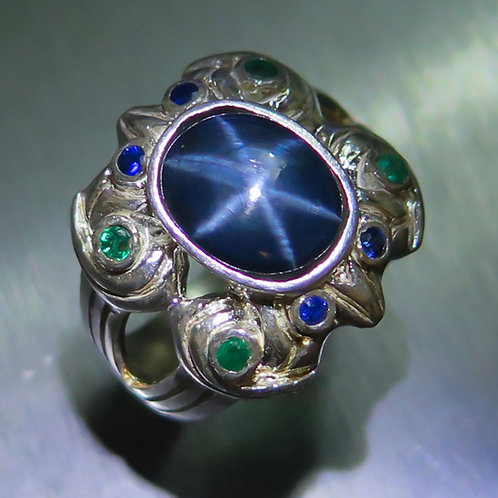 3.10ct Natural Blue ray star sapphires 925 Silver / Gold/ Platinum ring