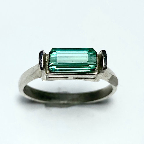 1.2ct Natural Indicolite tourmaline 925 Silver / Gold/ east west ring