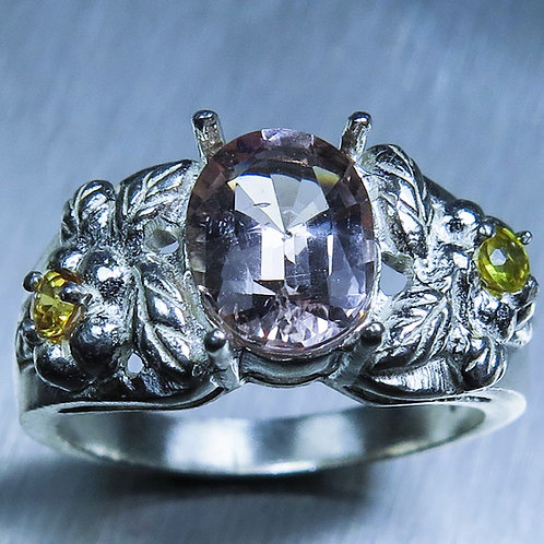 1.55ct Natural light Pink Morganite Beryl 925 Silver / Gold/ Platinum ring