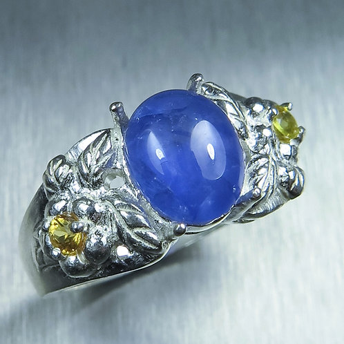 3.6ct Natural Cornflower Blue Star Sapphire 925 Silver / Gold/ Platinum ring