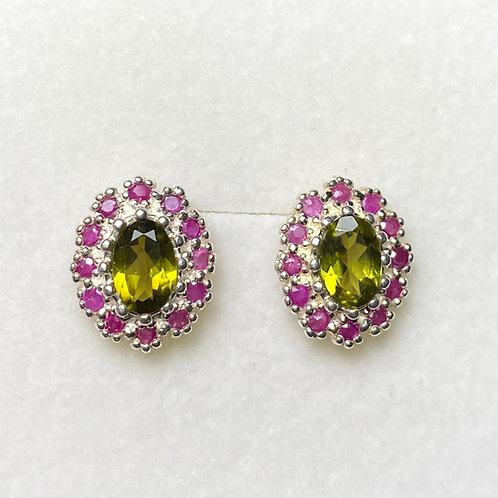 1.4ct Natural Olive Green Vesuvianite Silver/ Gold/Platinum stud studs earrings