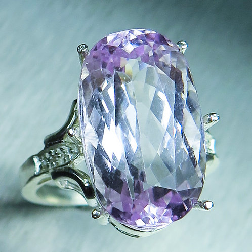 14cts Natural pink Kunzite 925 Silver / Gold/ Platinum ring