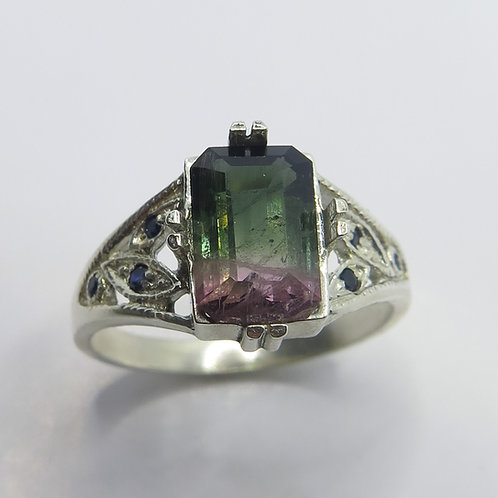 2.35ct Natural Watermelon Bi-colour tourmaline 925 Silver / Gold/ Platinum ring
