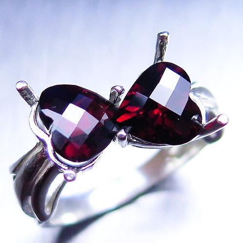 3.7ct Natural Spessartite garnet red hearts 925 Silver / Gold/ Platinum ring