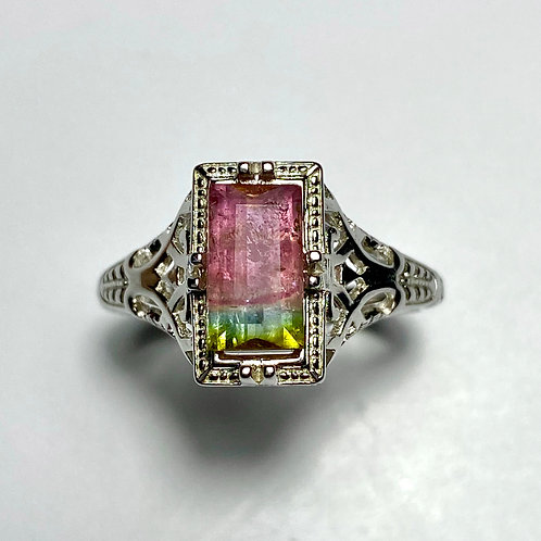1.4ct Natural Watermelon Tourmaline 925 Silver / Gold/ Platinum solitaire ring