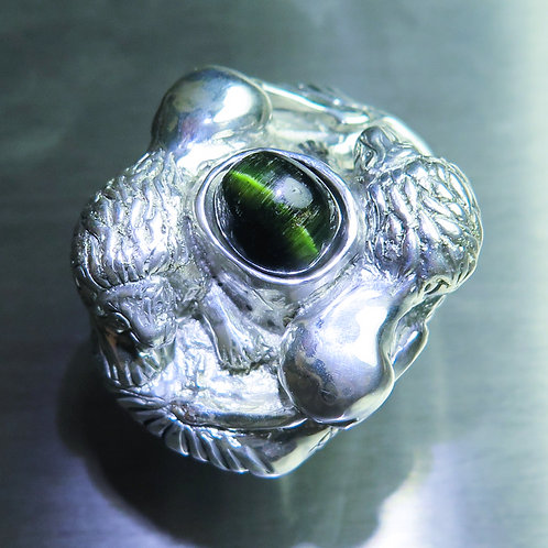 4.55cts Natural Cat's eye tourmaline Silver / Gold / Platinum lion ring