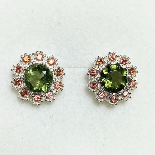 1.3ct Natural Moldavite Silver /Gold halo stud earrings cluster