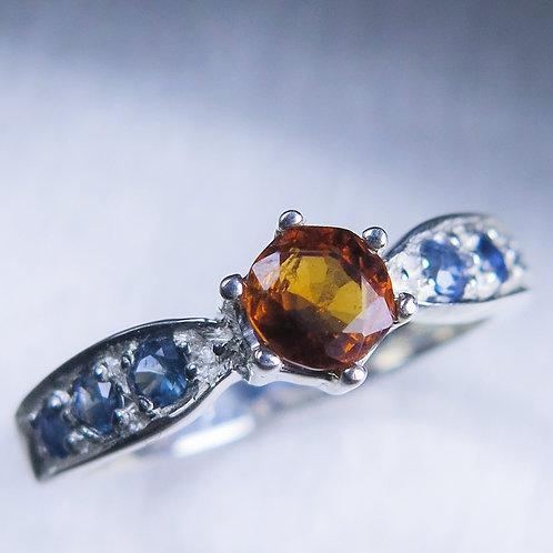 0.75ct Natural Cinnamon Orange Hessonite Garnet 925 Silver / Gold/ Platinum ring