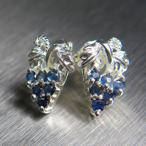 Natural royal blue sapphires 925 Silver/ Gold/Platinum grapes studs earrings