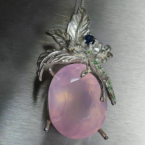 38.85ct Natural Pink Rose Quartz Silver / Gold / Platinum pendant on chain