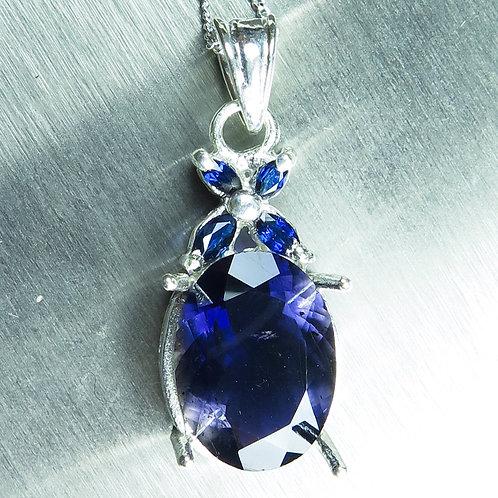3.85cts Natural Purple Iolite Silver / Gold / Platinum pendant on chain