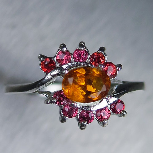 0.45cts Rare Natural orange Clinohumite 925 Sterling Silver ring