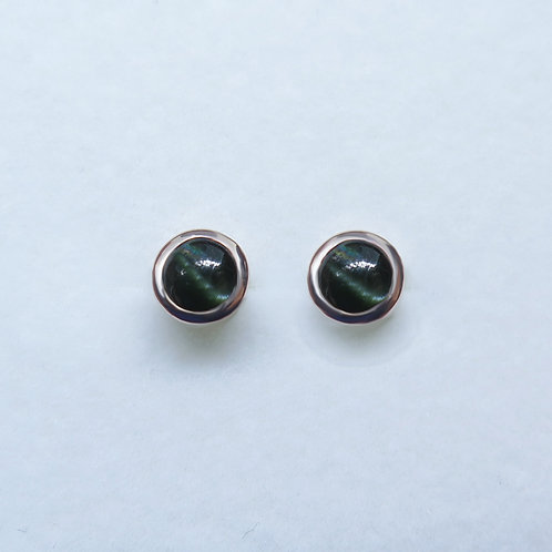 0.4ct Natural Kornerupine Cat's eye Silver /Gold / Platinum stud earrings