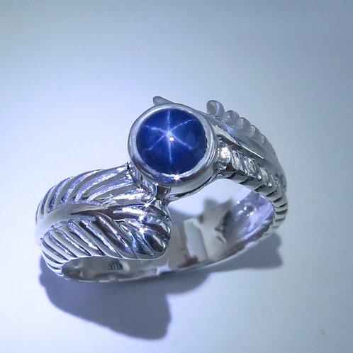 1ct Natural Dark blue star sapphire Silver/ Gold / Platinum feather unisex ring